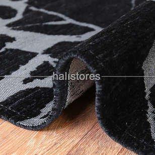 Modern Desenli Renkli Baskılı Halı SM 21 Siyah Gümüş - Thumbnail