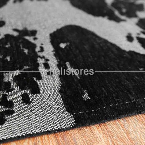 Modern Desenli Renkli Baskılı Halı SM 21 Siyah Gümüş