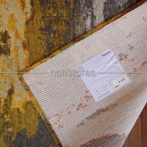 Modern Desenli Renkli Baskılı Yolluk Halı SM 12 Turuncu