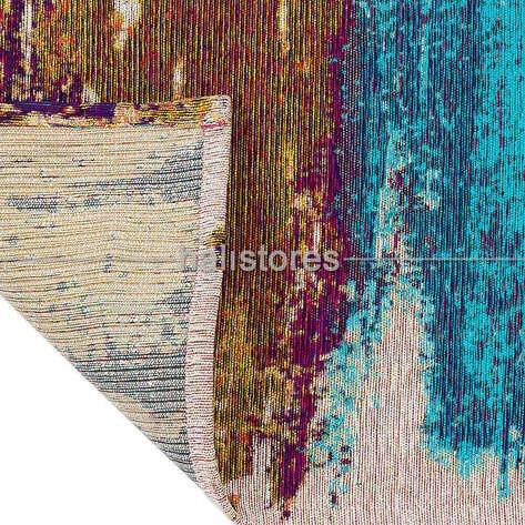 Modern Desenli Renkli Baskılı Yolluk Halı SM 36 Çok Renkli