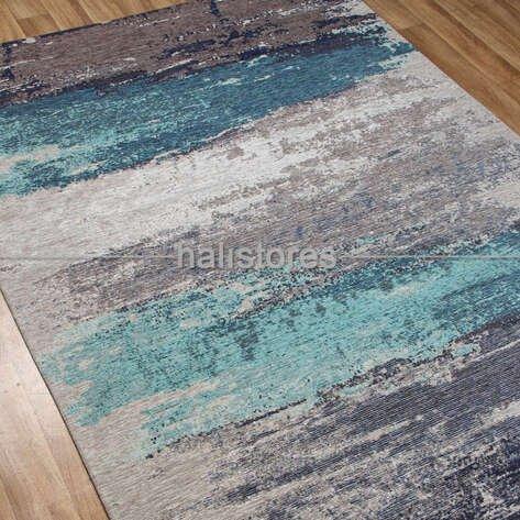 Modern Desenli Renkli Baskılı Yolluk Halı SM 36 Gri Mavi