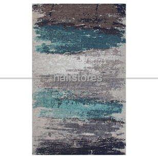 Modern Desenli Renkli Baskılı Yolluk Halı SM 36 Gri Mavi - Thumbnail