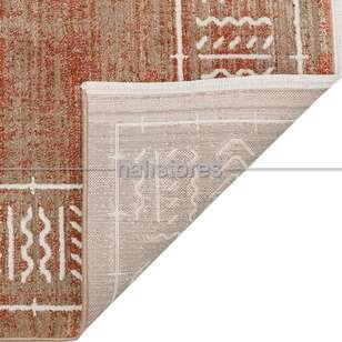 Moroccon ve Etnik Desenli İnce Dokuma Halı Nomad NOM 02 Kahve-Turuncu - Thumbnail