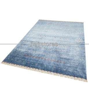 Otantik Kilim Desenli Zara 06 Mavi Hav ve Toz Vermeyen Özel Tezgah Halısı - Thumbnail