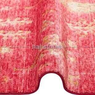 Otantik Kilim Desenli Zara 08 Kırmızı Hav ve Toz Vermeyen Özel Tezgah Halısı - Thumbnail