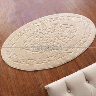 Halıstores - Ottoman %100 Pamuk Yıkanabilir Cappucino Oval Halı (1)