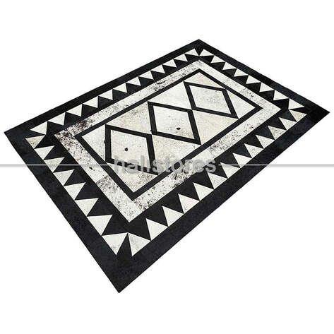 Özel Tasarım Deri Halı Siyah-Beyaz