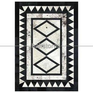 Özel Tasarım Deri Halı Siyah-Beyaz - Thumbnail