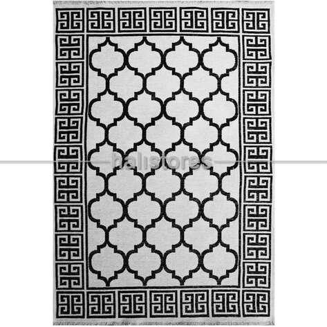 Pamuklu Dekoratif Çift Taraflı Siyah-Beyaz Kilim Palermo 6113