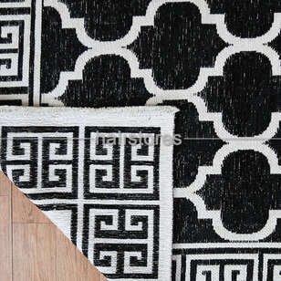 Pamuklu Dekoratif Çift Taraflı Siyah-Beyaz Kilim Palermo 6113 - Thumbnail