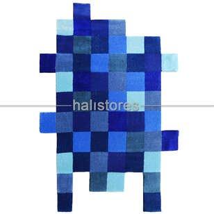 Royal Halı Custom Design Mavi Kutucuklar Halı - Thumbnail