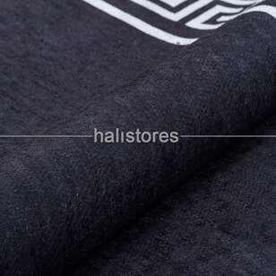 Siyah Beyaz Çerçeveli Baskılı Dekoratif Yolluk Halı - Thumbnail