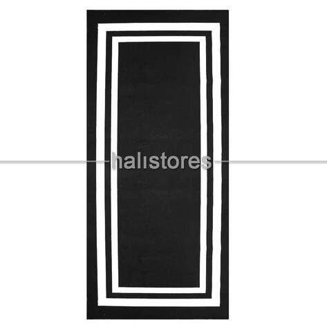 Siyah-Beyaz Çerçeveli İnce Modern Halı