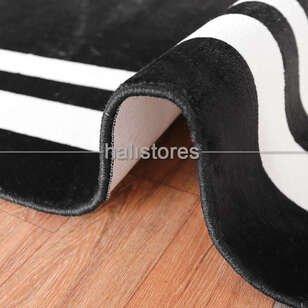 Siyah-Beyaz Çerçeveli İnce Modern Halı - Thumbnail