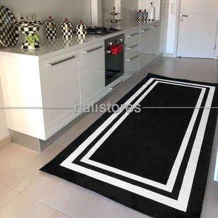 Siyah-Beyaz Çerçeveli Modern Halı 140x270 - Thumbnail