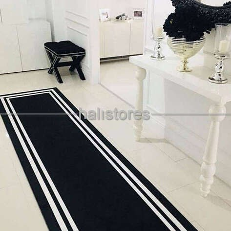 Siyah-Beyaz Çerçeveli Modern Halı 140x270