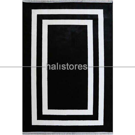 Siyah-Beyaz Çerçeveli Modern Halı Anka