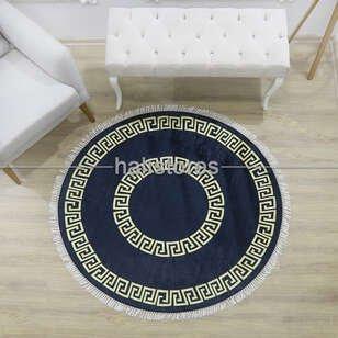 Halıstores - Siyah-Sarı Çerçeveli Baskılı Dekoratif Yuvarlak Halı Şehzade (1)