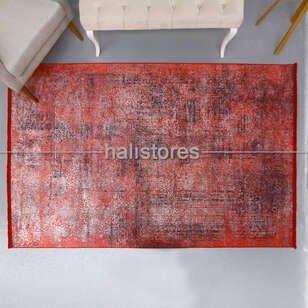 Soyut Desenli Kırmızı Yolluk Halı Zen 1848 - Thumbnail