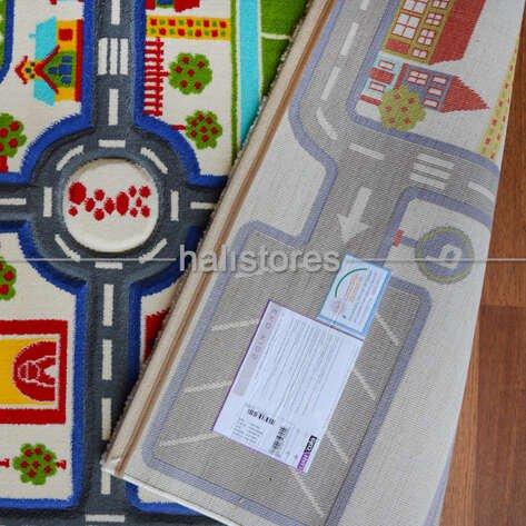 Trafik Desenli Çocuk Halıları Gri Kids 933