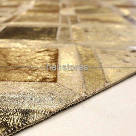 Varaklı Bej-Gold Detaylı Deri Patchwork Halı