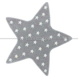 Yıldız Desenli Gri Bebek ve Çocuk Halısı - Thumbnail