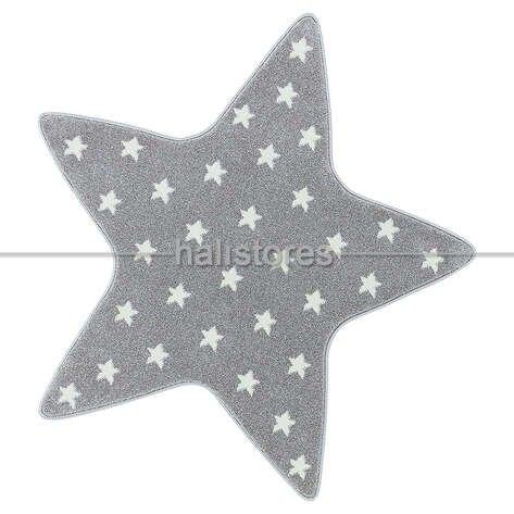 Yıldız Desenli Gri Bebek ve Çocuk Halısı
