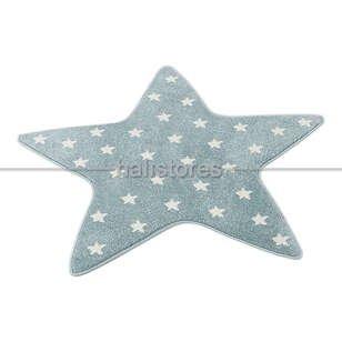 Yıldız Desenli Mavi Bebek ve Çocuk Halısı - Thumbnail