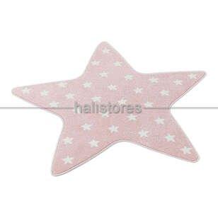 Yıldız Desenli Pembe Bebek ve Çocuk Halısı - Thumbnail