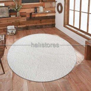 Halıstores - Yumuşak Tüylü Yuvarlak Halı Comfort 1006 Beyaz (1)